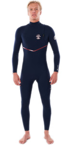 2021 Rip Curl Mens Flashbomb Search 4/3mm Zip Free Wetsuit WSM9BF - Navy / Red