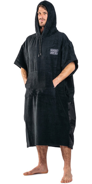 2018 Rip Curl Newy Packable Hooded Changing Robe / Poncho Black CTWAP4
