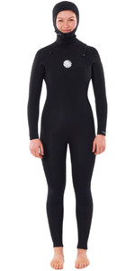 2020 Rip Curl Womens Dawn Patrol 5/4mm Hooded Chest Zip Wetsuit WSMYHW - Black