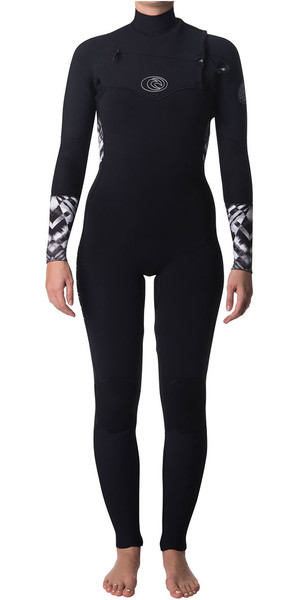 2018 Rip Curl Ladies Flashbomb 4/3mm Chest Zip Wetsuit BLACK / WHITE WSM7FS