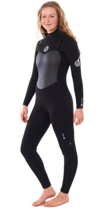 2021 Rip Curl Womens Flashbomb 4/3mm Chest Zip Wetsuit WSTYFG - Black