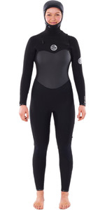 2020 Rip Curl Womens Flashbomb 6/4mm Hooded Chest Zip Wetsuit WSTYHG - Black