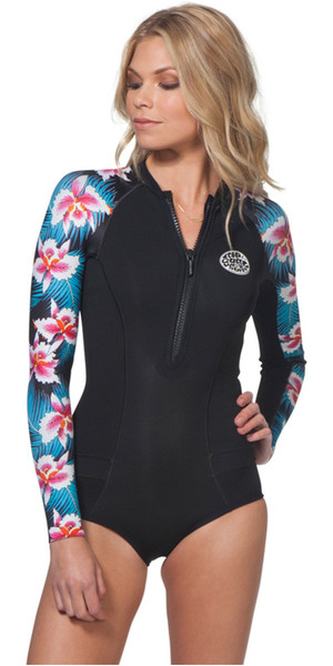 2018 Rip Curl Womens G-Bomb 1mm LS Front Zip Hi Cut Shorty Wetsuit Black Sub WSP7LW