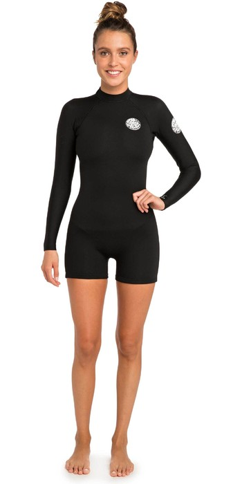 Rip Curl Womens G-Bomb 2mm Back Zip Long Sleeve Shorty Wetsuit WSP8AW - Black