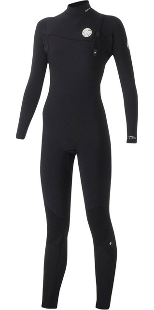 Rip Curl Womens G-bomb 3/2mm Gbs Zip-free Wetsuit Black Wsm5hg Picture