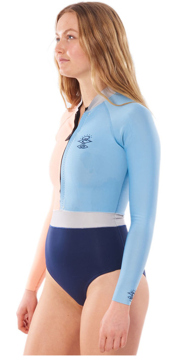 2020 Rip Curl Womens G-Bomb Searchers 1mm Long Sleeve Shorty Wetsuit WSPYJW - Multicolour