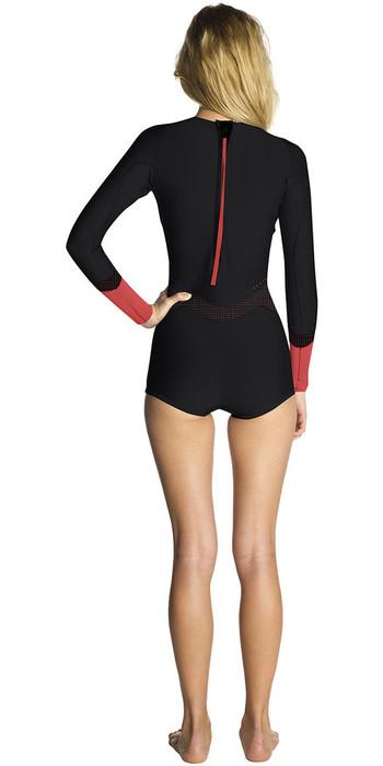 Rip Curl Womens Madi 1mm Long Sleeve Boyleg Shorty Wetsuit Black / Red WSP7OW