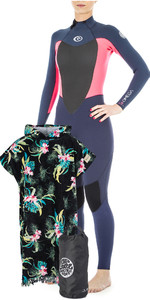 Rip Curl Womens Omega 4/3mm Back Zip Wetsuit +  Cloudbreak Change Poncho & Small Wetsack
