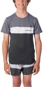 2021 Ripcurl Junior Underline Panel Short Sleeve UV Tee WLY9FB - Charcoal Grey