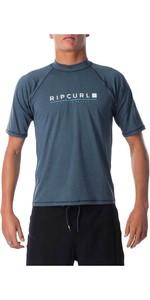 2021 Ripcurl Mens Shockwave Relaxed Short Sleeve UV Tee Rash Guard WLY7NM - Navy Marle
