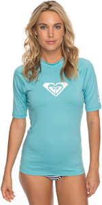 2018 Roxy Womens Wholehearted Short Sleeve Rash Vest AQUARELLE ERJWR03219