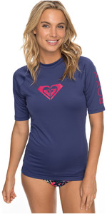2018 Roxy Womens Wholehearted Short Sleeve Rash Vest DEEP COBALT ERJWR03219