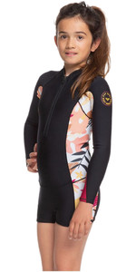 2020 Roxy Girls Popsurf 1.5mm Front Zip Long Sleeve Shorty ERGW403006 - Black / Terra