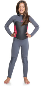 2020 Roxy Girls Syncro 3/2mm Back Zip Wetsuit Deep Grey / Scarlet ERGW103013