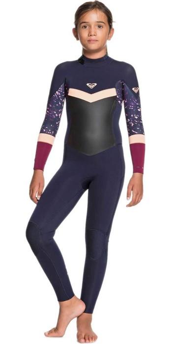 2020 Roxy Girls Syncro 4/3mm Back Zip Wetsuit ERGW103032 - Dark Navy / Red Plum