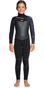 2020 Roxy Girls Syncro Plus 4/3mm Chest Zip Wetsuit Black / Gunmetal ERGW103027