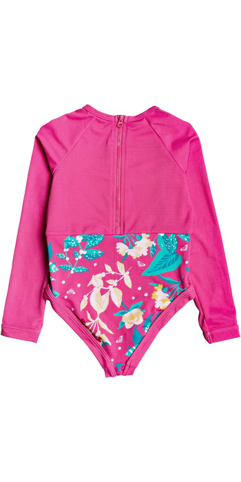 2020 Roxy Girls UV50+ Magical Sea Long Sleeve Onesie ERLWR03142 - Pink Flambe / Sunnyplace
