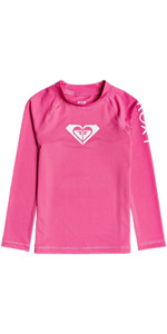 2020 Roxy Girls Whole Hearted UV50+ Long Sleeve Rash Vest ERLWR03149 - Pink Flambe
