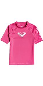 2020 Roxy Girls Whole Hearted UV50+ Short Sleeve Rash Vest ERLWR03150 - Pink Flambe
