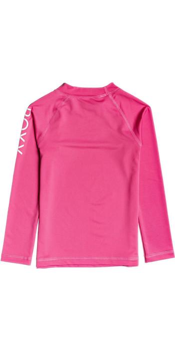 2020 Roxy Girls Whole Hearted UV50+ Long Sleeve Rash Vest ERLWR03149 - Pink Flambe