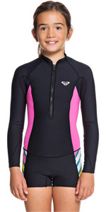 2019 Roxy Junior Girls 1.5mm Pop Surf Long Sleeve Shorty Wetsuit Black ERGW403006