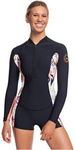 2020 Roxy Womens 1.5mm Pop Surf Long Sleeve Spring Shorty ERJW403019 - Black / Terracotta