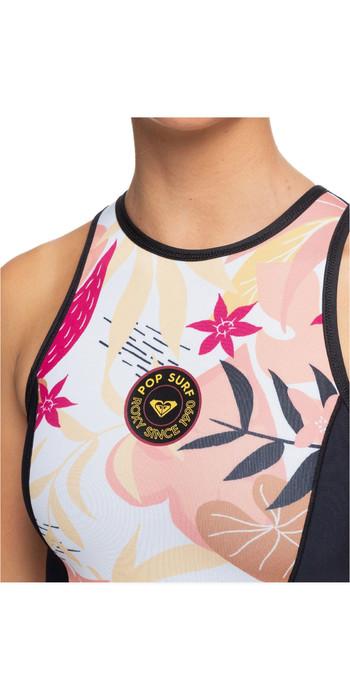 2020 Roxy Womens 1mm Pop Surf Back Zip Bikini Cut Shorty Wetsuit ERJW603015 - Black / Terracotta