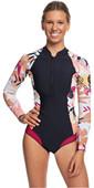 2020 Roxy Womens 1mm Pop Surf Long Sleeve Cheeky Spring Shorty Wetsuit ERJW403021 - Black / Terracotta