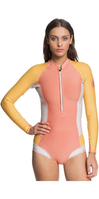 2020 Roxy Womens Popsurf 1mm Long Sleeve Shorty Wetsuit ERJW403023 - Terracotta / Peach