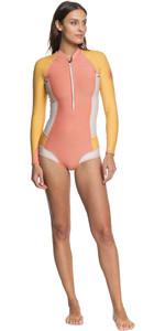 2020 Roxy Womens Popsurf 1mm Pastel Bikini Cut Long Sleeve Shorty Wetsuit ERJW403023 - Terracotta / Peach