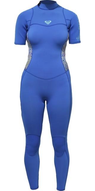 2018 Roxy Womens Syncro Series 2mm Short Sleeve Back Zip Wetsuit Sea Blue Erjw303001 Picture