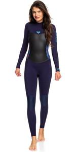2019 Roxy Womens Syncro 4/3mm Back Zip Wetsuit Blue Ribbon / Coral Flame ERJW103027