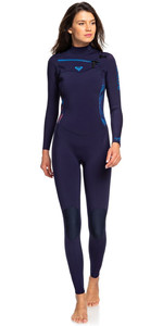 2020 Roxy Womens Syncro 3/2mm Chest Zip Wetsuit Blue Ribbon / Coral Flame  ERJW103025