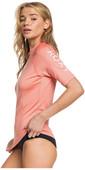 2020 Roxy Womens Whole Hearted Short Sleeve Rash Vest ERJWR03409 - Terracotta