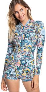 2021 Roxy X Liberty Womens Marine Bloom 1.5mm Long Sleeve Shorty Wetsuit ERJW403038 - Dark Navy