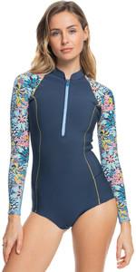 2021 Roxy X Liberty Womens Marine Bloom 1mm Long Sleeve Shorty Wetsuit ERJW403039 - Dark Navy