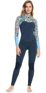 2021 Roxy X Liberty Womens Marine Bloom 4/3mm Chest Zip Wetsuit ERJW103092 - Dark Navy