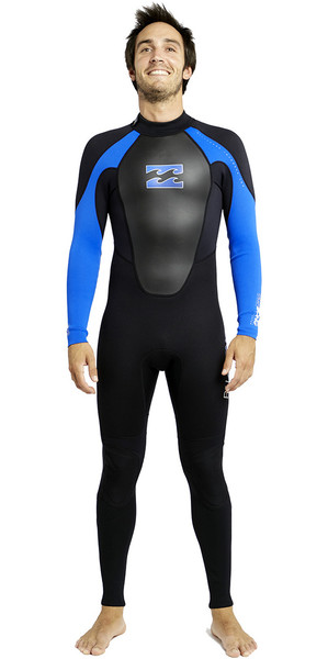 2018 Billabong Intruder 3/2mm Flatlock Wetsuit BLACK / BLUE S43M03
