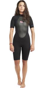 2019 Billabong Womens Launch 2mm Back Zip Shorty Wetsuit Black S42G03