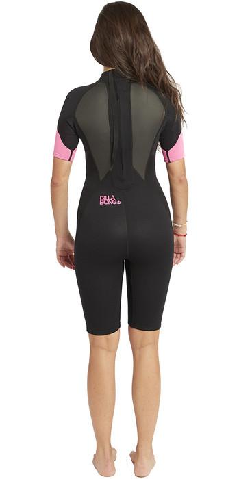 2020 Billabong Womens Launch 2mm Back Zip Shorty Wetsuit Black / Hot Pink S42G03
