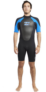 2019 Billabong Mens Intruder 2mm Back Zip Shorty Wetsuit Black / Blue S42M21