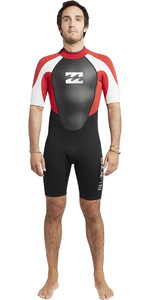 2019 Billabong Mens Intruder 2mm Back Zip Shorty Wetsuit Black / Red / White S42M21