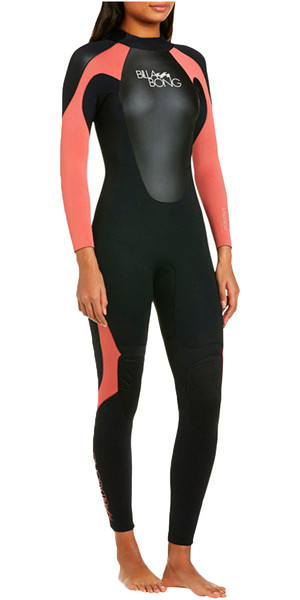 2018 Billabong Ladies Launch 3/2mm Flatlock Wetsuit Black / CHERRY S43G03