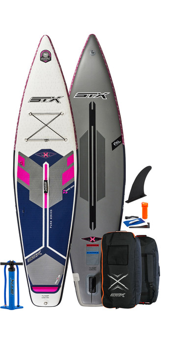 2021 STX Touring Pure 10'4 Inflatable Stand Up Paddle Board Package - Board, Bag, Pump & Leash - Purple / Blue