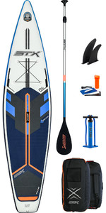 2021 STX Touring Windsurf 11'6 Inflatable Stand Up Paddle Board Package - Board, Bag, Paddle, Pump & Leash - Blue / Orange