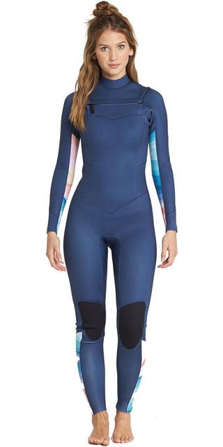 2018 Billabong Womens Salty Dayz 3/2mm Chest Zip Wetsuit Blue Swell L43g01 Picture