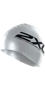 2021 2XU Silicone Swim Cap Hat SILVER US1355