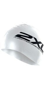 2XU Silicone SWIM Cap Hat in WHITE  US1355
