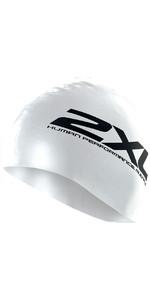 2XU Silicone SWIM Cap Hat in WHITE  US1355