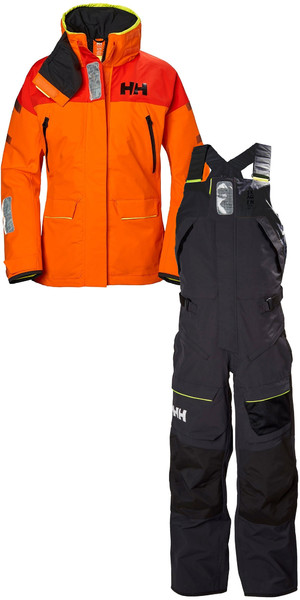 2019 Helly Hansen Womens Skagen Offshore Jacket 33920 & Trouser 33921 Combi Set Blaze Orange / Ebony